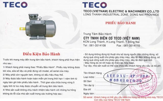 Phiếu bảo hành Motor TECO chính hãng